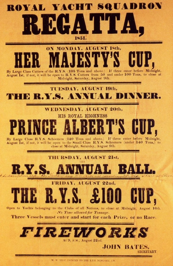 The First America's Cup poster for the £100 Cup