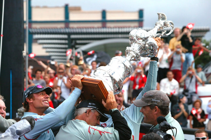 Swiss Team Alinghi winning the America's Cup in 2003
