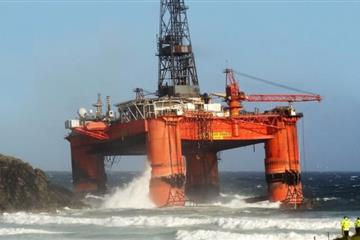 Drilling rig blown ashore in storms off Western Isles