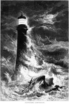 Eddystone Lighthouse with shipwreck